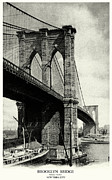Brooklyn Bridge Painting Prints - 1900 Brooklyn Bridge  Print by Historic Image