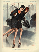 Raining Drawings Posters - 1920s France La Vie Parisienne Magazine Poster by The Advertising Archives