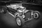 Ford Model T Car Framed Prints - 1925 Ford Model T Hot Rod BW Framed Print by Rich Franco