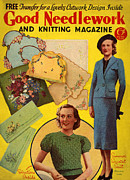 1930s Drawings Prints - 1930s Uk Good Needlework And Knitting Print by The Advertising Archives
