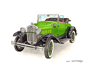 Vintage Fords Posters - 1931 Ford Model A Roadster Poster by Jack Pumphrey