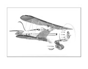 Graphite Art Drawings - 1935  Waco Bi Plane by Jack Pumphrey