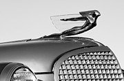 Black And White Photos Prints - 1937 Cadillac V8 Hood Ornament Print by Jill Reger