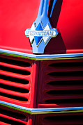 Classic Pickup Prints - 1937 International D2 Pickup Truck Grille Emblem Print by Jill Reger