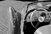 Vintage Sport Cars Photo Framed Prints - 1937 Peugeot 402 DarlMat Legere Speacial Sport Roadster Recreation Steering Wheel Emblem Framed Print by Jill Reger