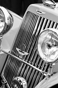 Beach Photographs Prints - 1939 Aston Martin 15-98 Abbey Coachworks SWB Sports Grille Emblems Print by Jill Reger