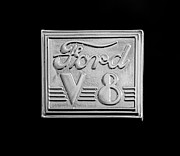 1940-1949 Prints - 1940 Ford Coupe V8 Emblem Print by Jill Reger