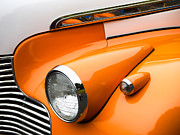 Antique Car Photos - 1940 Orange and White Chevrolet Sedan by Carol Leigh