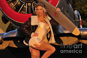 Leather Coat Posters - 1940s Style Aviator Pin-up Girl Posing Poster by Christian Kieffer