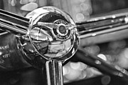 Black And White Photos Photos - 1947 Chrysler New Yorker Town and Country Convertible Steering Wheel by Jill Reger