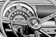 Black And White Photos Photos - 1949 Chrysler Town and Country Convertible Steering Wheel Emblem by Jill Reger
