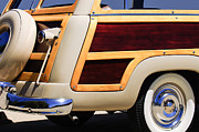 Rear Posters - 1950 Ford Custom Deluxe Station Wagon Rear End - Woodie Poster by Jill Reger