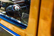Custom Ford Photos - 1950 Ford Custom Deluxe Woodie Station Wagon Steering Wheel Emblem by Jill Reger