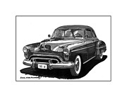 Metal Prints Drawings - 1950 Oldsmobile Rocket 88 by Jack Pumphrey