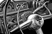 Steering Framed Prints - 1950 Pontiac Steering Wheel Emblem Framed Print by Jill Reger
