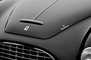 Black And White Photos Photos - 1951 Ferrari 212 Export Touring Berlinetta Hood Emblems by Jill Reger
