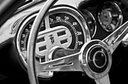 Ghia Prints - 1953 Fiat 8V Ghia Supersonic Steering Wheel Print by Jill Reger