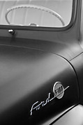 Black And White Photos Photos - 1953 Ford F-100 Pickup Truck Steering Wheel and Emblem by Jill Reger