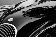Roadster Photos - 1954 Jaguar XK 120 Roadster Hood Emblem by Jill Reger