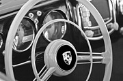 Bent Prints - 1954 Porsche 356 Bent-Window Coupe Steering Wheel Emblem Print by Jill Reger