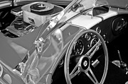 Black And White Photos Photos - 1955 AC Cobra Steering Wheel and Engine by Jill Reger