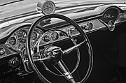 White Chevy Prints - 1955 Chevrolet Belair Steering Wheel - Dashboard Emblems Print by Jill Reger