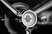 Lincoln Photos - 1956 Lincoln Continental Mark II Hess and Eisenhardt Convertible Steering Wheel Emblem by Jill Reger