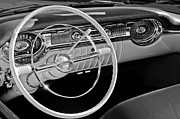 Black And White Photos Photos - 1956 Oldsmobile Starfire 98 Steering Wheel and Dashboard by Jill Reger