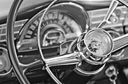 Steering Framed Prints - 1956 Pontiac Chieftain Steering Wheel Framed Print by Jill Reger