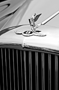 Black And White Photos Photos - 1957 Bentley S-Type Hood Ornament and Emblem by Jill Reger