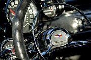 Car Photo Posters - 1957 Chevrolet BelAir Steering Wheel Poster by Jill Reger