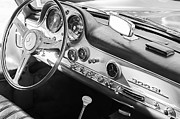 Mercedes Benz 300 Sl Classic Car Photos - 1957 Mercedes-Benz 300 SL Gullwing Steering Wheel Emblem by Jill Reger