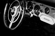 Classic Porsche 356 Photos - 1957 Porsche 356 Carrera GT Coupe Dashboard - Steering Wheel Emblems by Jill Reger