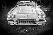 Custom Automobile Posters - 1958 Chevy Corvette BW Poster by Rich Franco