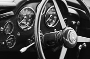 Beach Photographs Prints - 1960 Aston Martin DB4 GT Coupe Steering Wheel Emblem Print by Jill Reger