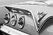 Black And White Photos Posters - 1961 Chevrolet SS Impala Tail Lights Poster by Jill Reger