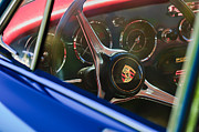 Best Car Photography Prints - 1963 Porsche 356 B 1600 Coupe Steering Wheel Emblem Print by Jill Reger