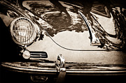 Black And White Photography Metal Prints - 1963 Porsche 356 B Cabriolet Hood Emblem Metal Print by Jill Reger