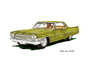 Caddy Painting Prints - 1964 Cadillac Coupe DeVille Print by Jack Pumphrey