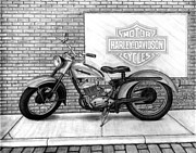 Bike Drawings - 1964 Harley Pacer by Chris Wiley