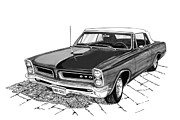 Pen And Ink Framed Prints Prints - 1965 Pontiac GTO Convertible Print by Jack Pumphrey