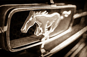 Black And White Photographs Art - 1965 Shelby prototype Ford Mustang Grille Emblem by Jill Reger