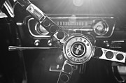 Steering Framed Prints - 1965 Shelby prototype Ford Mustang Steering Wheel Emblem Framed Print by Jill Reger