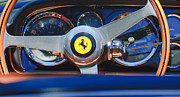 Steering Framed Prints - 1966 Ferrari 330 GTC Steering Wheel Emblem Framed Print by Jill Reger