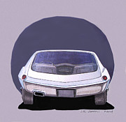 Show Mixed Media - 1967 BARRACUDA  Plymouth vintage styling design concept rendering sketch by John Samsen