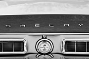 Black And White Photos Photos - 1968 Ford Shelby GT500 KR Convertible Rear Emblems by Jill Reger