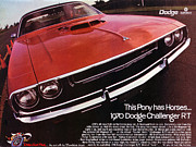 Sports Art Digital Art Posters - 1970 Dodge Challenger R/T  Poster by Digital Repro Depot