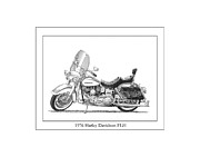 Pen And Ink Framed Prints Prints - 1976 Harley Davidson FLN Print by Jack Pumphrey