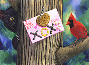 Wicked Kitty Metal Prints - 2 Red Burd Metal Print by Catherine G McElroy