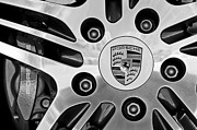 Black And White Photos Photos - 2008 Porsche Turbo Cabriolet Wheel Rim by Jill Reger